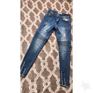Denim - Distressed Biker Jeans